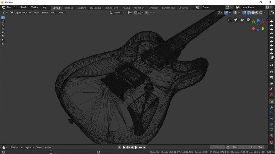 Fender Telecaster royalty-free 3d model - Preview no. 6