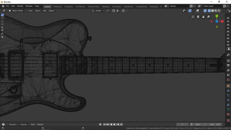 Fender Telecaster royalty-free 3d model - Preview no. 7