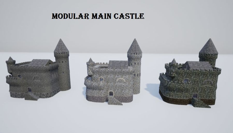 模块化的中世纪城堡 royalty-free 3d model - Preview no. 5