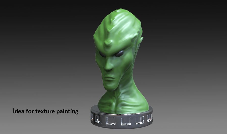 Alien Büste 3d drucken royalty-free 3d model - Preview no. 7
