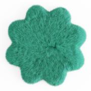 Fourrure de tapis en forme de fleur en peau de mouton 3d model