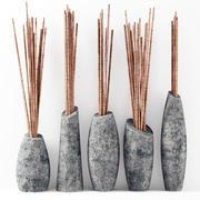 花瓶スライス枝竹 3d model