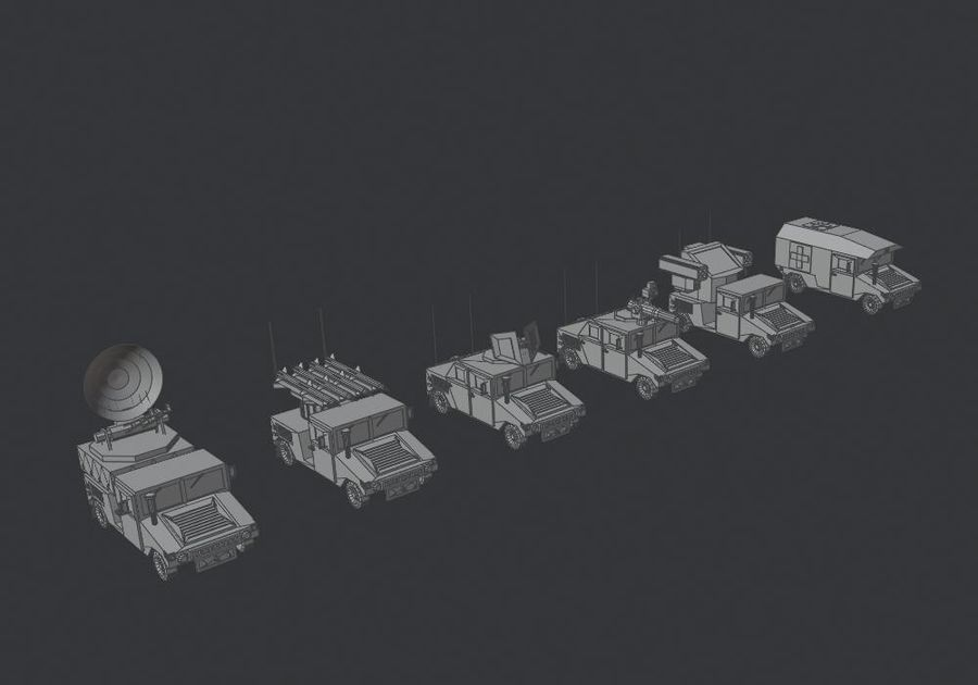 HUMVEE Military Vehicle Hummer Pack royalty-free 3d model - Preview no. 11