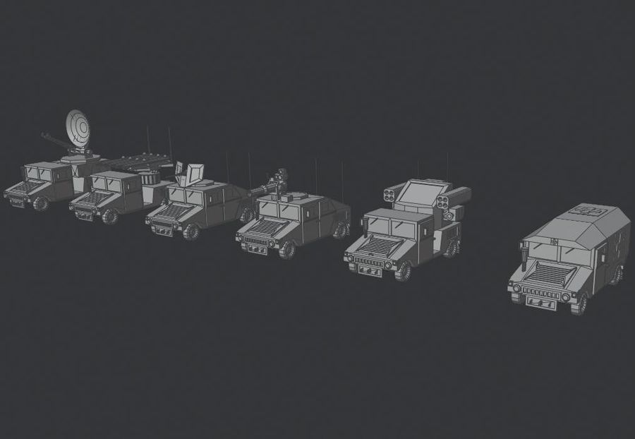 HUMVEE Military Vehicle Hummer Pack royalty-free 3d model - Preview no. 12
