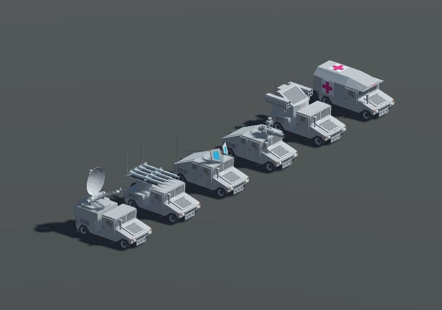 HUMVEE Military Vehicle Hummer Pack royalty-free 3d model - Preview no. 6