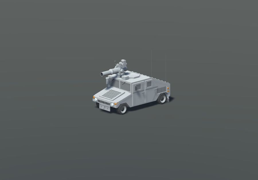 HUMVEE Military Vehicle Hummer Pack royalty-free 3d model - Preview no. 7