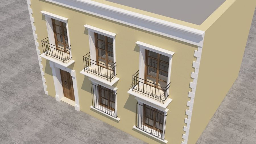 Mexikanska hus stad royalty-free 3d model - Preview no. 5