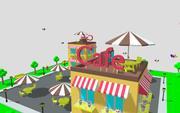Cartoon Cafe Low Poly 3d model