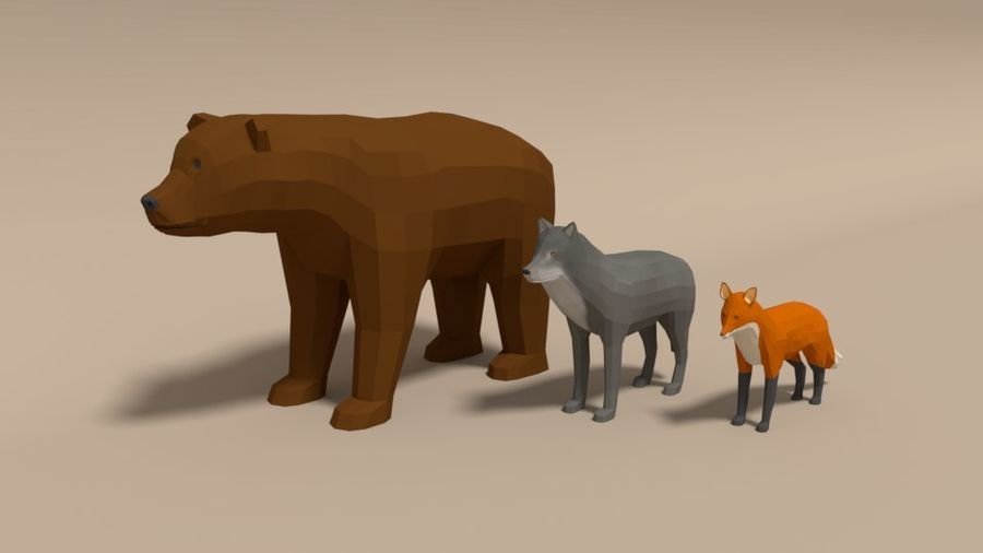 Pakiet zwierząt leśnych Low Poly royalty-free 3d model - Preview no. 1