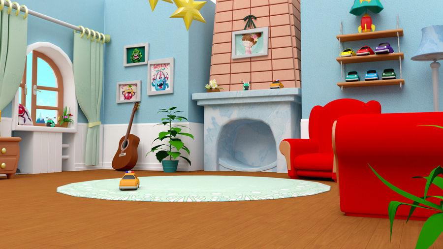 Çizgi film oturma odası ev royalty-free 3d model - Preview no. 2