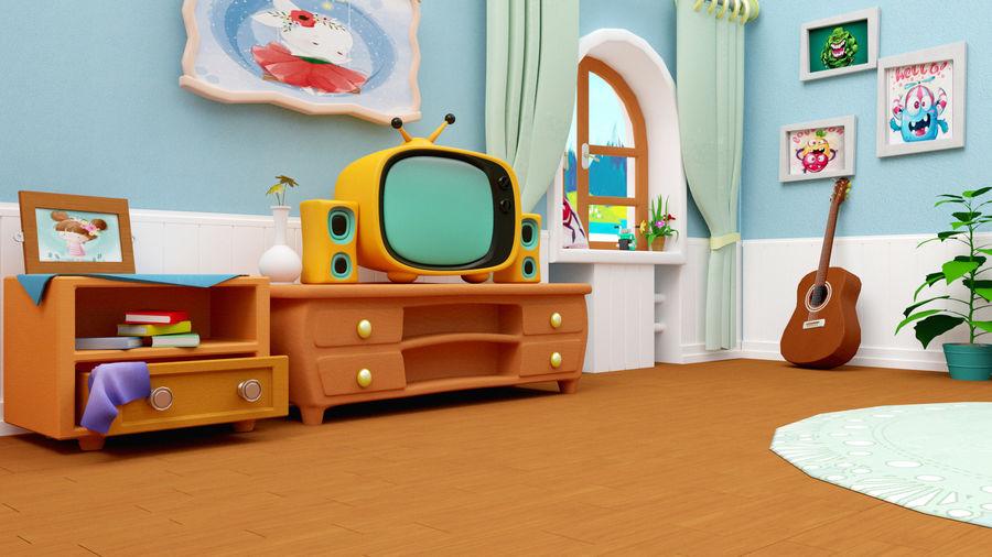 Çizgi film oturma odası ev royalty-free 3d model - Preview no. 3
