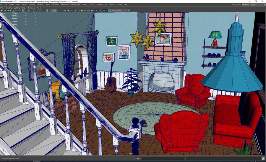 Çizgi film oturma odası ev royalty-free 3d model - Preview no. 6