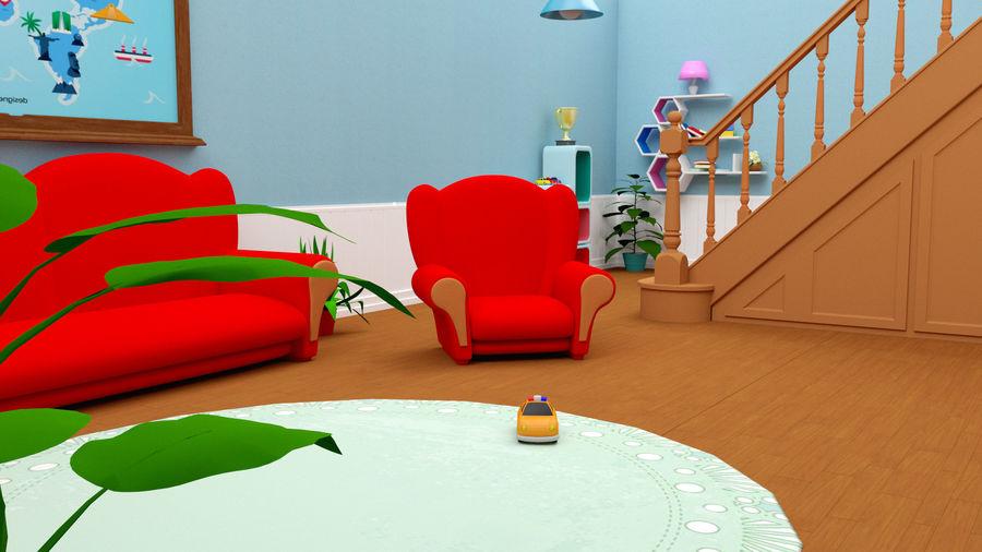Çizgi film oturma odası ev royalty-free 3d model - Preview no. 5