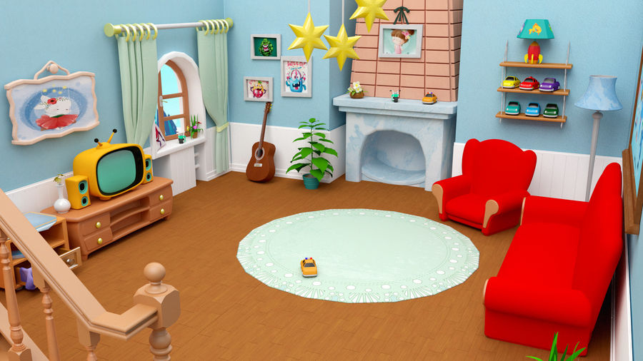 Çizgi film oturma odası ev royalty-free 3d model - Preview no. 1