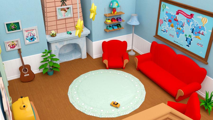 Çizgi film oturma odası ev royalty-free 3d model - Preview no. 4