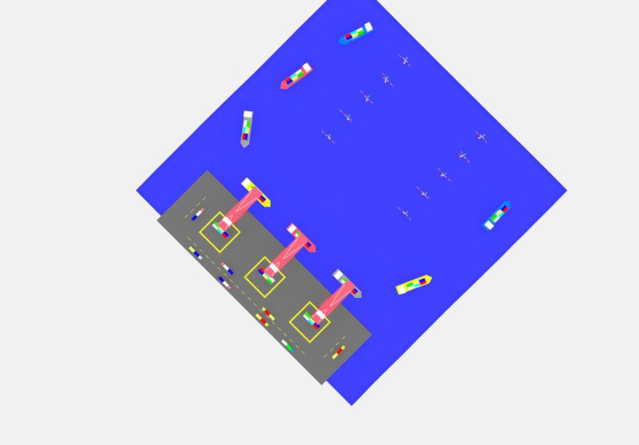 简单的卡通集装箱港口低聚 royalty-free 3d model - Preview no. 10