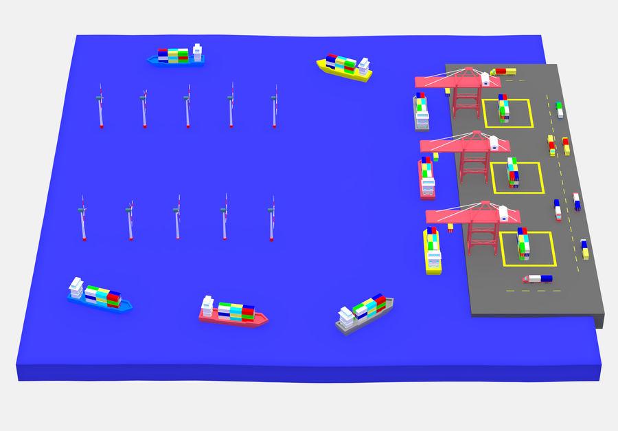 简单的卡通集装箱港口低聚 royalty-free 3d model - Preview no. 6