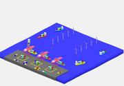 Basit çizgi film konteyner liman düşük Poli 3d model