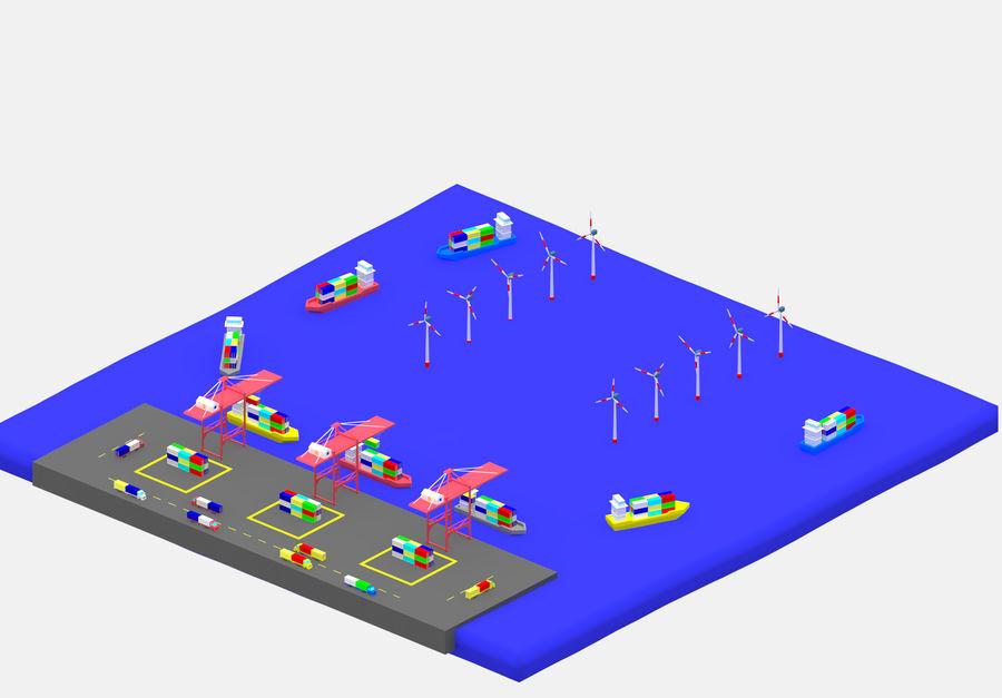 简单的卡通集装箱港口低聚 royalty-free 3d model - Preview no. 1