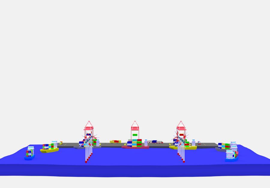 简单的卡通集装箱港口低聚 royalty-free 3d model - Preview no. 7