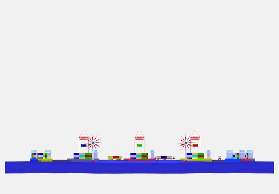 简单的卡通集装箱港口低聚 royalty-free 3d model - Preview no. 19