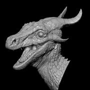 Forest Dragon Bust 3d model