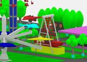 Parque de diversões simples dos desenhos animados Lowpoly 3d model