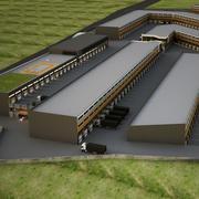 Industriell byggnad - fabrik 3d model