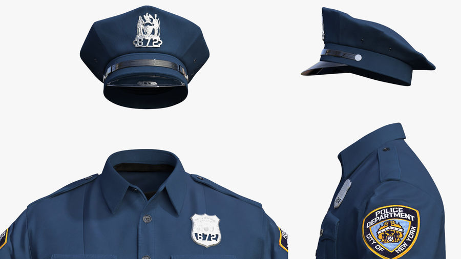 NYPD polisuniform royalty-free 3d model - Preview no. 4