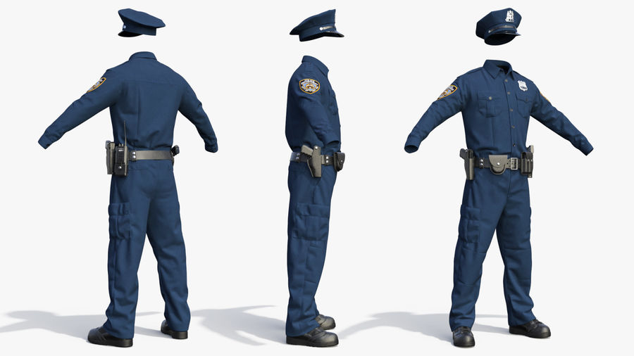 NYPD polisuniform royalty-free 3d model - Preview no. 7