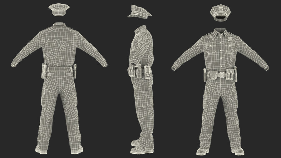 NYPD polisuniform royalty-free 3d model - Preview no. 29