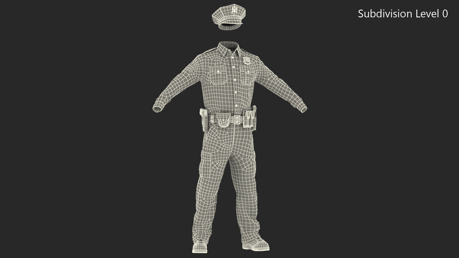 NYPD polisuniform royalty-free 3d model - Preview no. 22