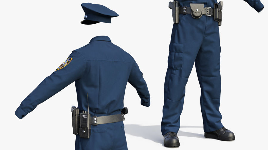 NYPD polisuniform royalty-free 3d model - Preview no. 10