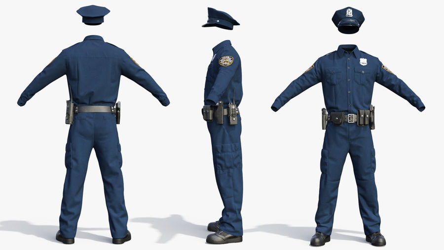 NYPD polisuniform royalty-free 3d model - Preview no. 6
