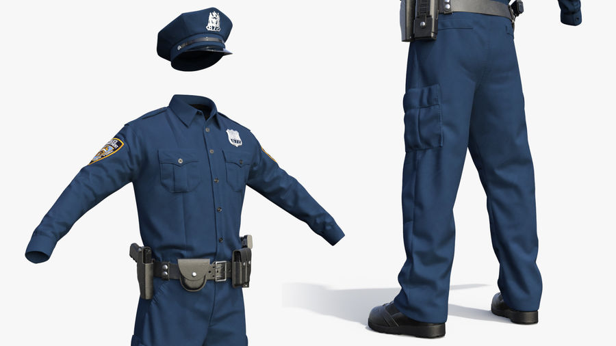 NYPD polisuniform royalty-free 3d model - Preview no. 9