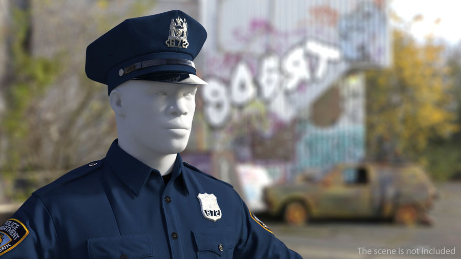 NYPD polisuniform royalty-free 3d model - Preview no. 3