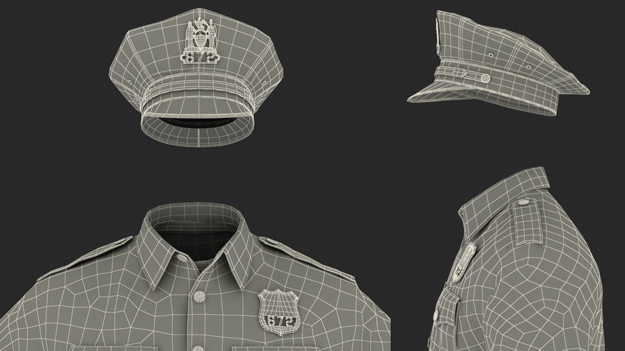 NYPD polisuniform royalty-free 3d model - Preview no. 33