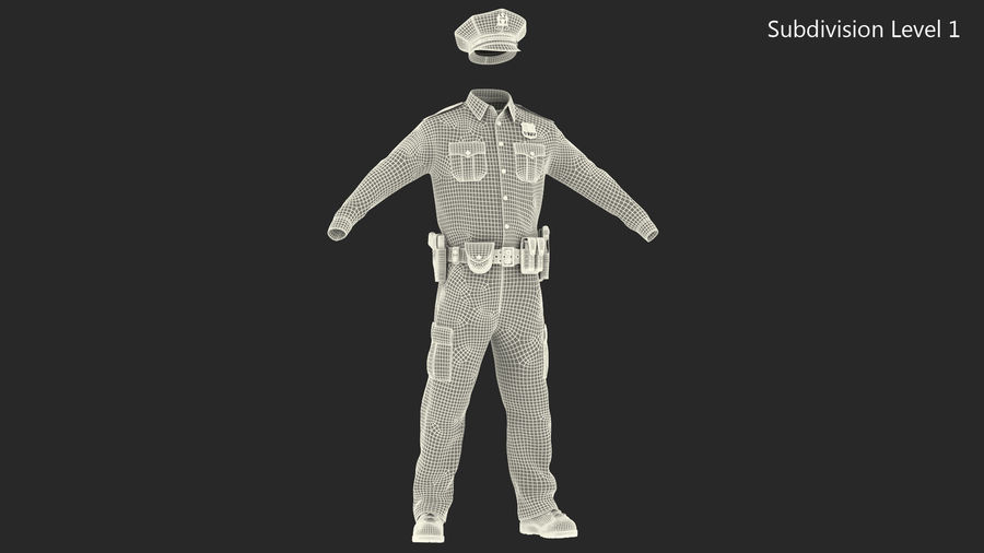 NYPD polisuniform royalty-free 3d model - Preview no. 23