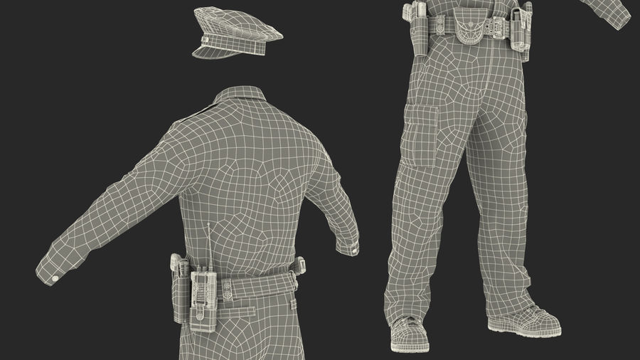 NYPD polisuniform royalty-free 3d model - Preview no. 31