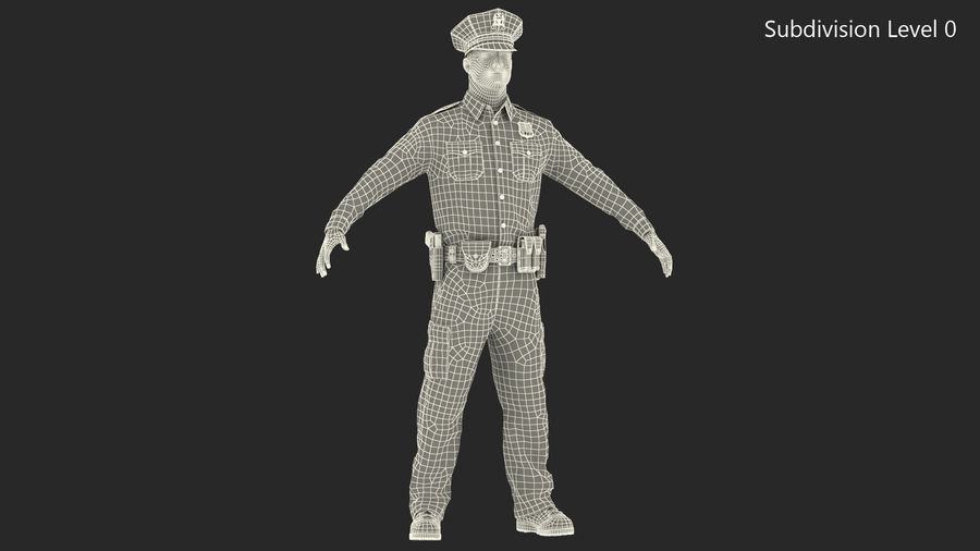 NYPD-polisens päls riggade royalty-free 3d model - Preview no. 26