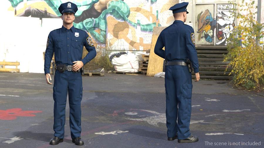 NYPD-polisens päls riggade royalty-free 3d model - Preview no. 2
