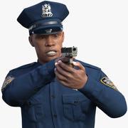 Afroamerikansk NYPD-polis som inriktar sig på päls 3d model