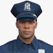 African American NYPD Cop Rigged Fur 3d model