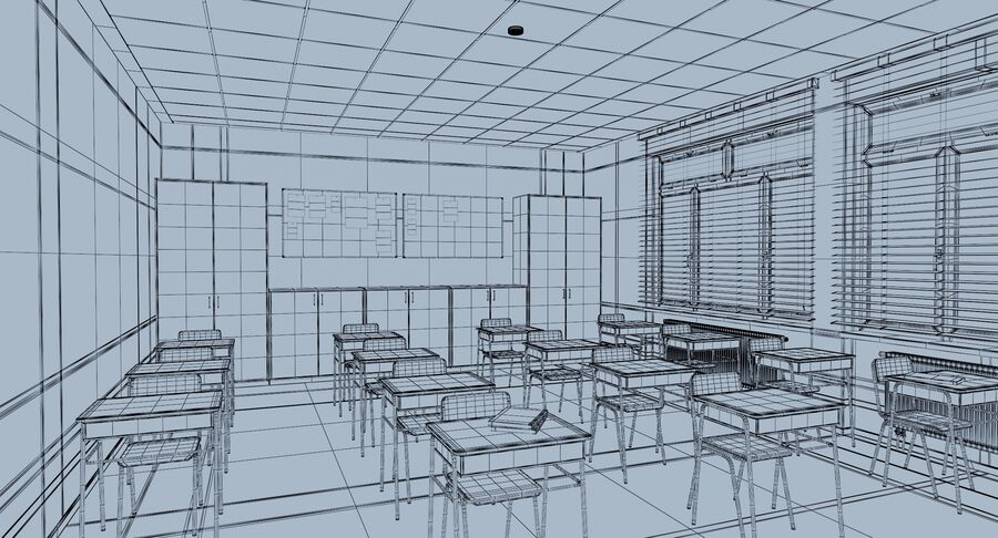 Klassenzimmer royalty-free 3d model - Preview no. 14