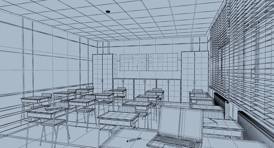 Klassenzimmer royalty-free 3d model - Preview no. 16
