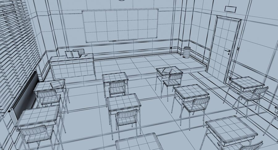 Klassenzimmer royalty-free 3d model - Preview no. 18