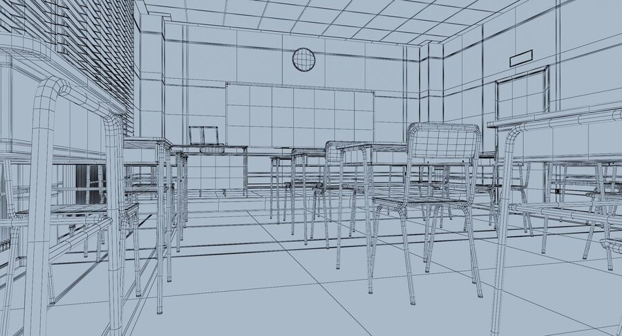 Klassenzimmer royalty-free 3d model - Preview no. 19