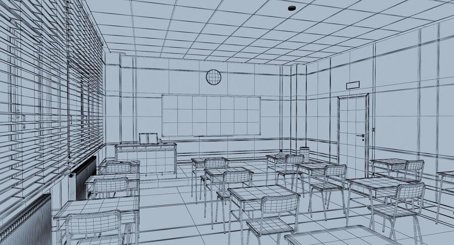 Klassenzimmer royalty-free 3d model - Preview no. 15