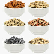 Nuts in Bowl Collection 3d model