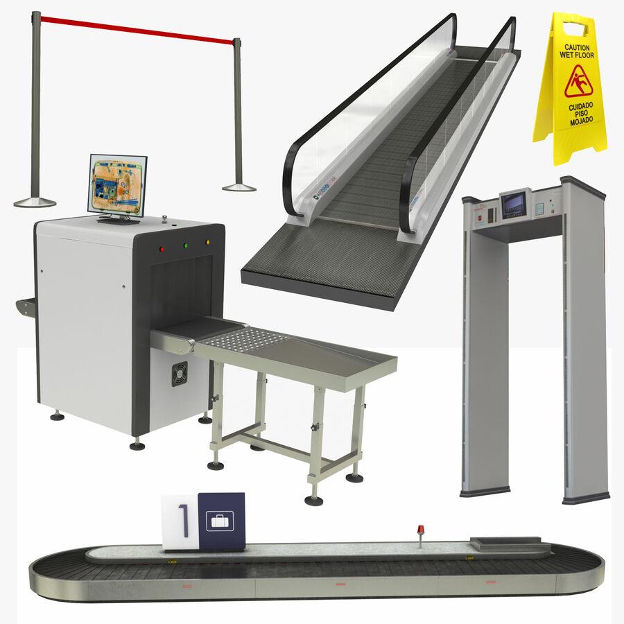 Coleção 6 de equipamentos para interiores de aeroportos royalty-free 3d model - Preview no. 1